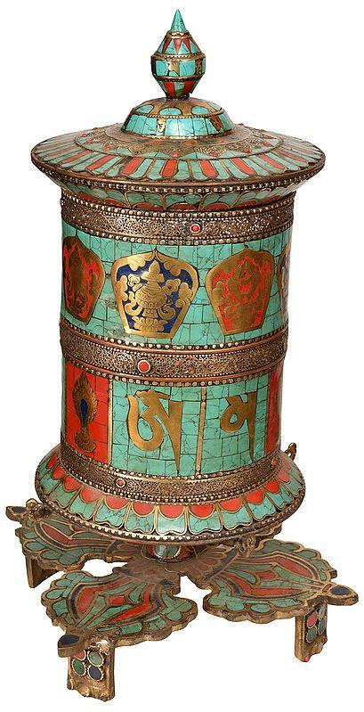 Ashtamangala Prayer Wheel On Interlocked Vajra Stand