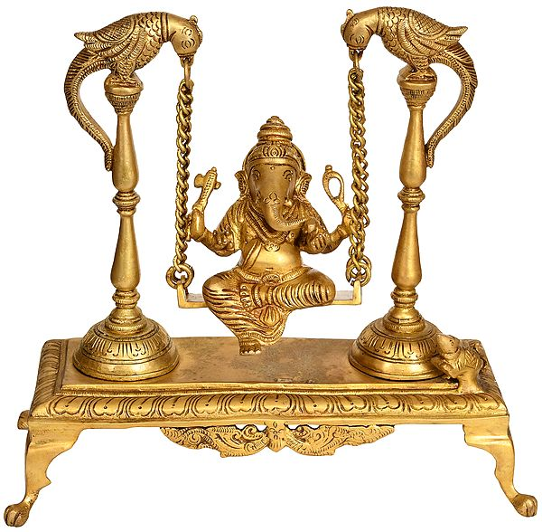 Lord Ganesha on a Parrot Swing