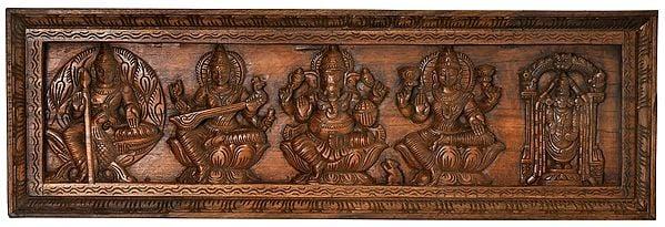 Lakshmi Ganesha and Saraswati Panel with Karttikeya and Lord Venkateshwara Balaji