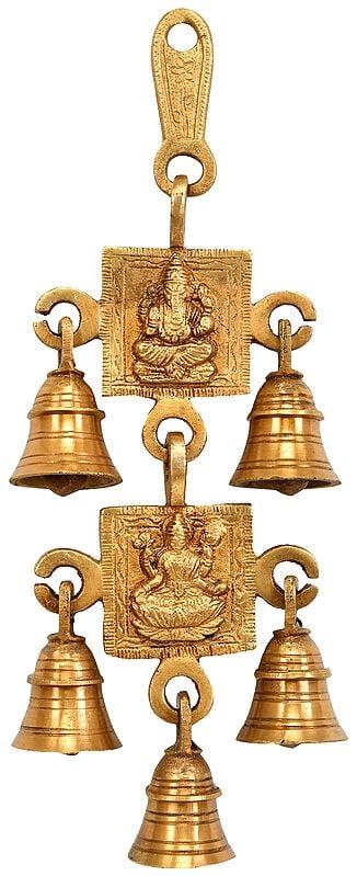 Lord Ganesha and Lakshmi Wall Hanging Bells