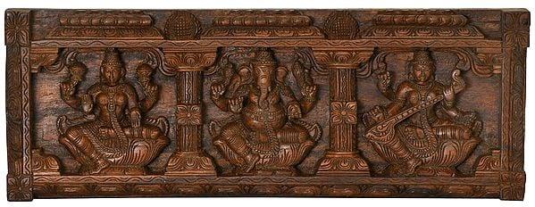 Lakshmi, Ganesha and Saraswati Panel