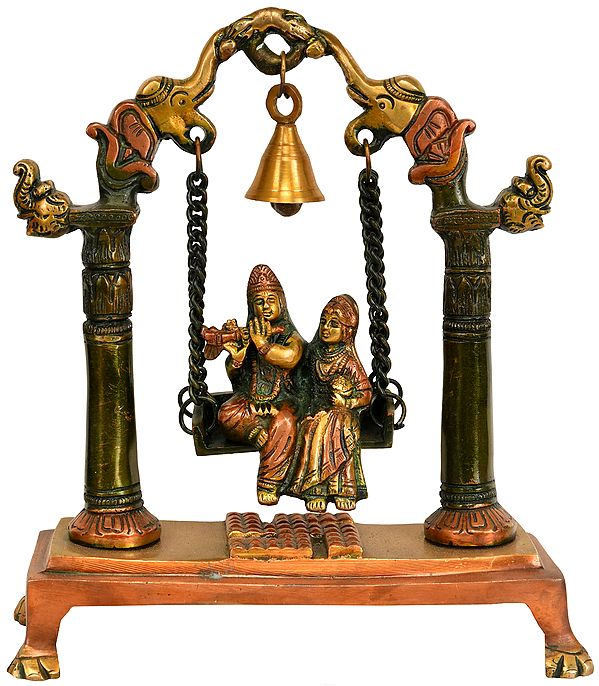 Radha Krishna on a Swing with Bell Atop