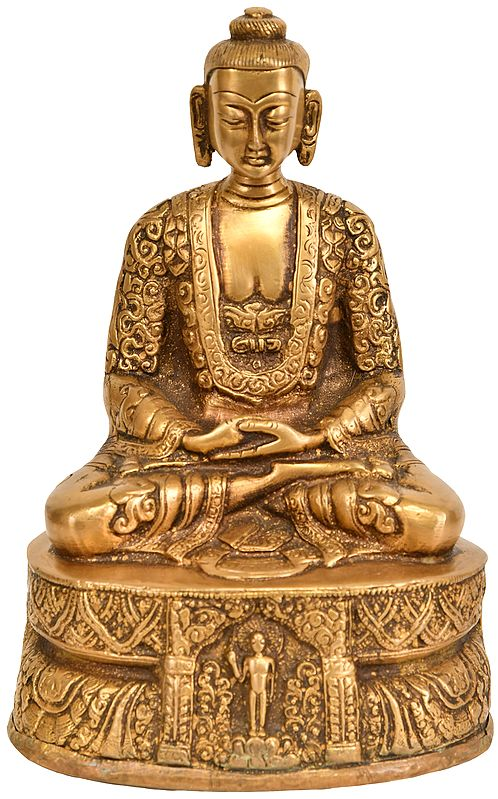 Lord Buddha in Dhyana Mudra (with Decorated Robe and Auspicious Symbols on Reverse)