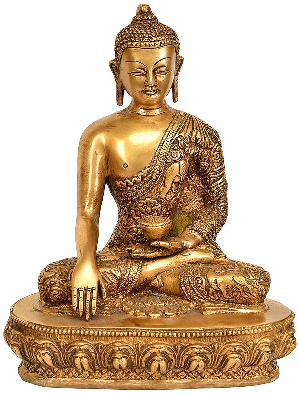 Buddha Seated in Bhumisparsha Mudra (Robes Ornately Decorated with Auspicious Symbols and Jataka Animals)