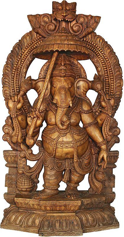 Ganesha With Parasole And Kamandalu, Under An Ornate Kirtimukha Aureole