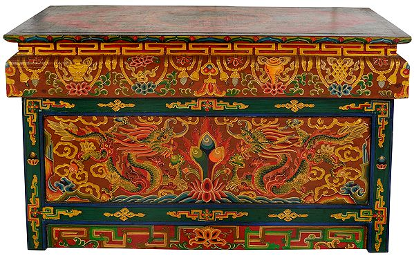 Tibetan Buddhist Altar Desk with Auspicious Symbols