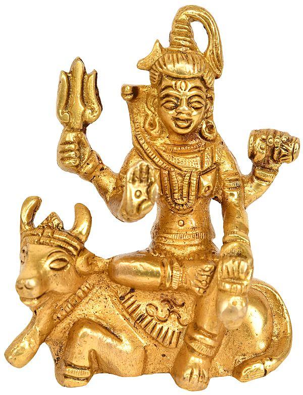 Lord Shiva Seated on Nandi (Small Statue)