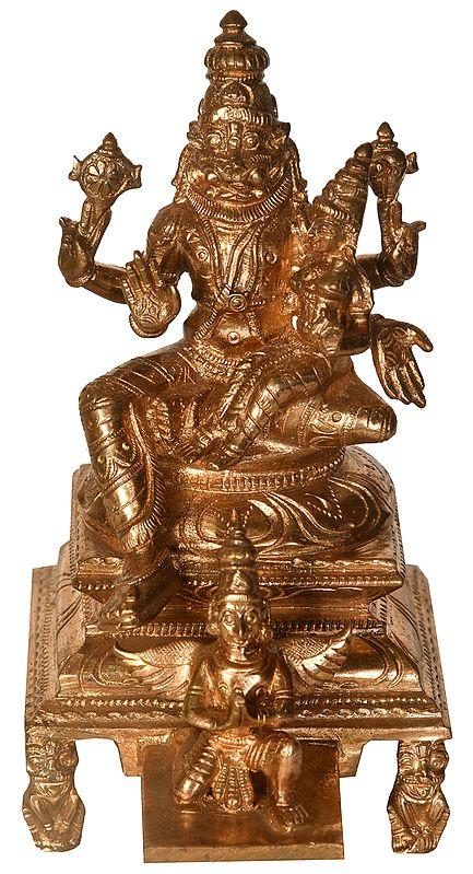 Lord Narasimha with Goddess Lakshmi Seated on Garuda Chowki