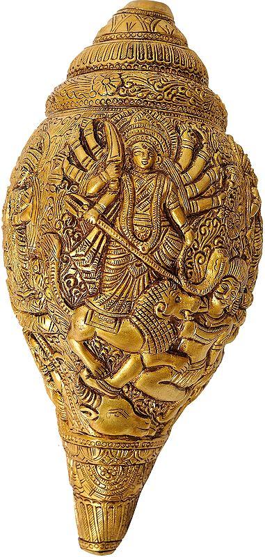Conch with Goddess Durga, Saraswati, Lakshmi and Ganesha (Wall Hanging)
