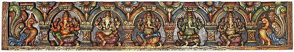 Five Manifestations of Bhagawan Ganesha - Large Panel