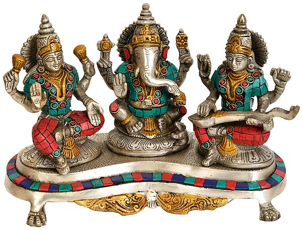 Three Auspicious Deities - Lakshmi Ganesha and Saraswati