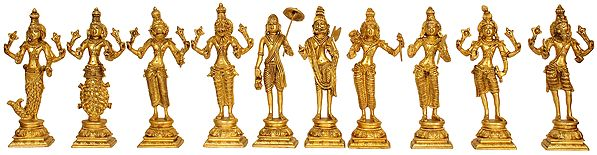 Dashavatara: Ten Incarnations of Lord Vishnu (From the Left - Matshya, Kurma, Varaha, Narasimha, Vaman, Parashurama, Rama, Balarama, Krishna and Kalki)