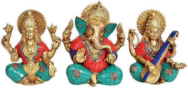 Lakshmi Ganesha and Saraswati