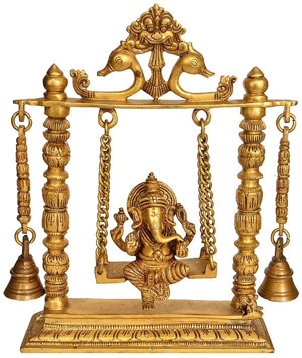 Lord Ganesha on a Swing with Hanging Bells