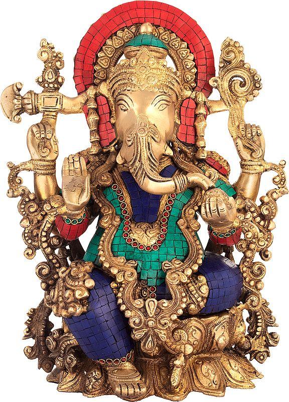 Seated Ganesha, Exquisitely Adorned