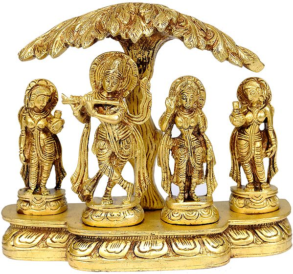 Shri Krishna with Radha and Gopis