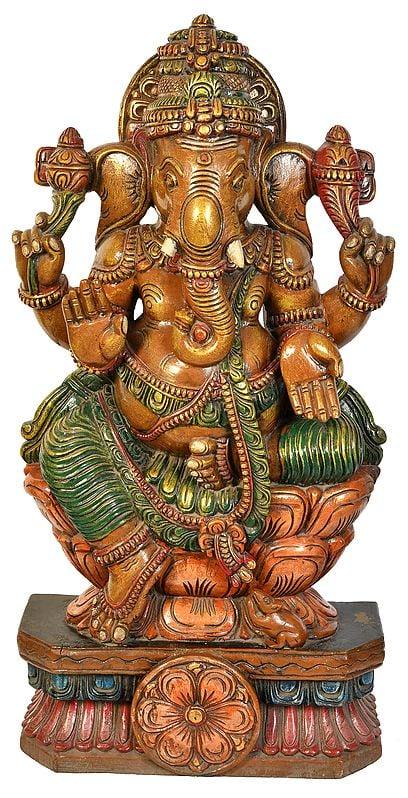 Lord Ganesha Seated on Lotus Seat