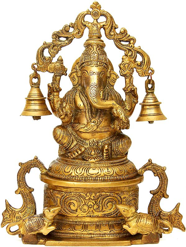 Lord Ganesha Seated on High Pedestal with Hanging Bells Aureole