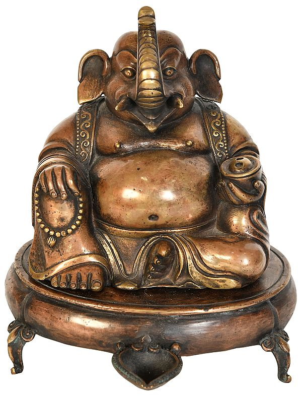 Lord Ganesha Incense Burner with Lamp - Made in Nepal