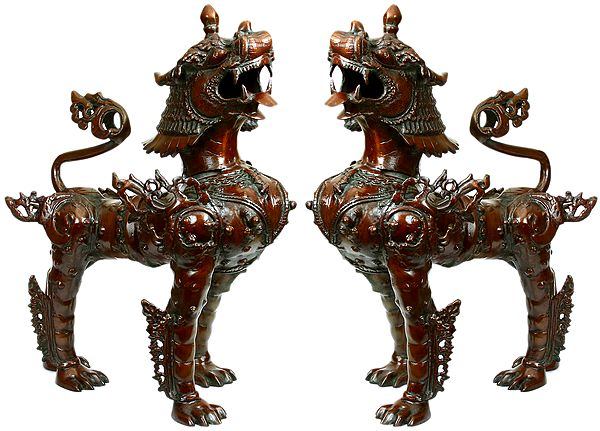 Tibetan Buddhist Large Size Pair of Mythicised Lions