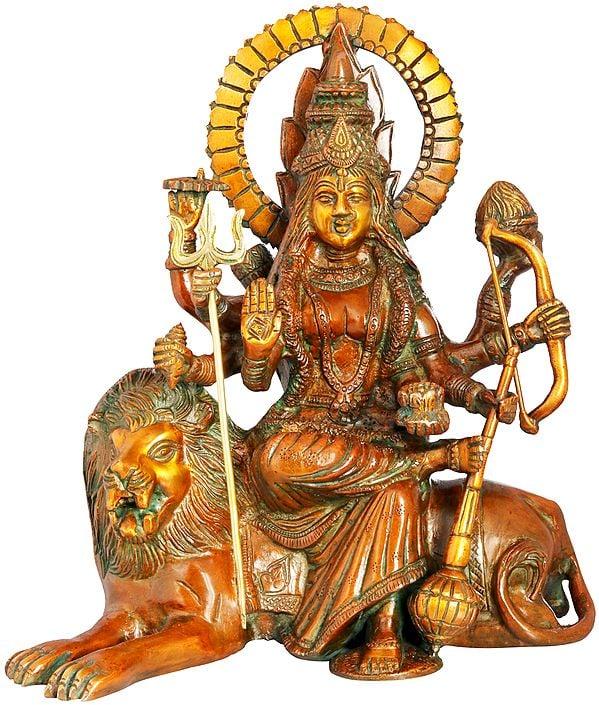 Ashtabhuja Simhavahini Durga Seated on Lion