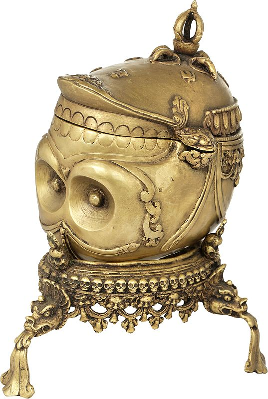 Skull Cup with Lid, Base and Dorje Atop - Made in Nepal