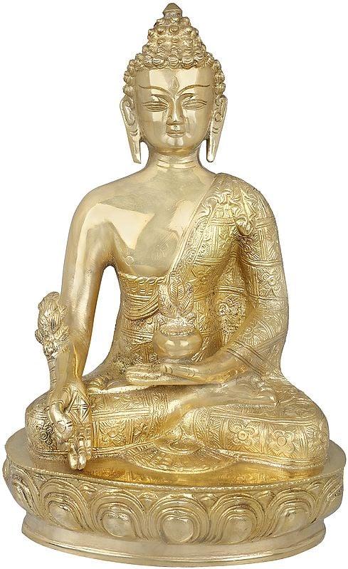 Tibetan Buddhist Deity- The Medicine Buddha (Robes Decorated with Flowers)