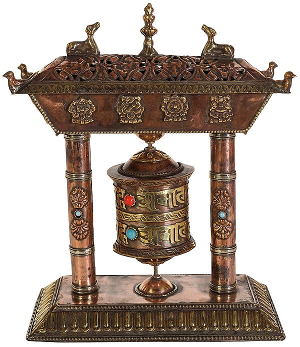 Tibetan Buddhist Ashtamangala Prayer Wheel with Incense Burner