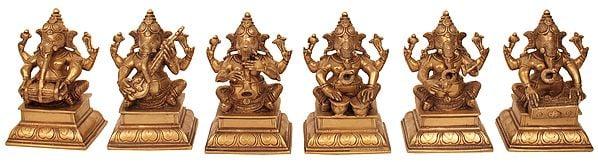 Set of Six Musical Ganeshas