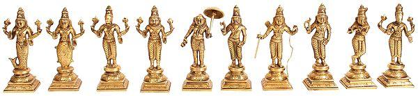 Dashavatara  -Ten Incarnations of Lord Vishnu (From Left - Matshya, Kurma, Varaha, Narasimha, Vaman, Parashurama, Rama, Balarama, Krishna and Kalki)