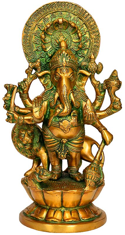 Eight Armed Ganesha with Lion and Snake Aureole