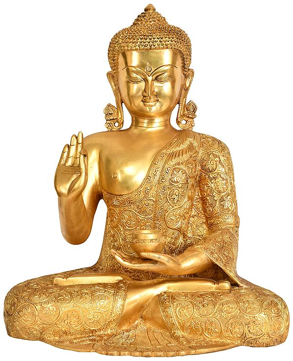 Tibetan Buddhist Deity Preaching Buddha with Superfine Carbed Robe