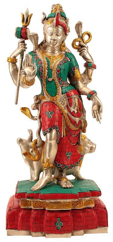 Ardhanarishvara (Shiva Shakti) with Coral and Turquoise Color Inlay