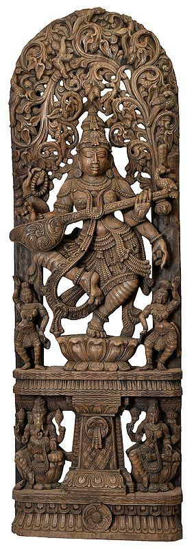 Dancing Goddess Saraswati with Vegetative Arched-Shaped Aureole and Ganesha Lakshmi on Base