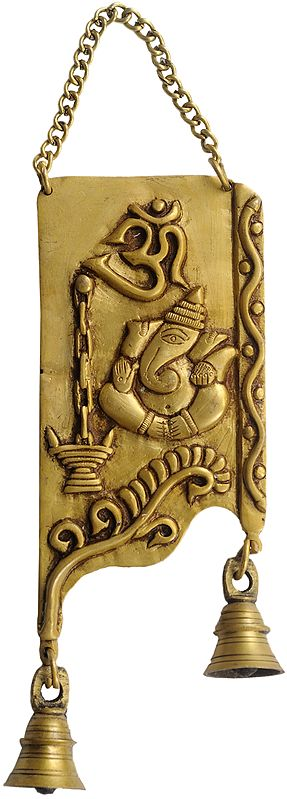 Om (AUM) Ganesha Wall Hanging Plate with Bells