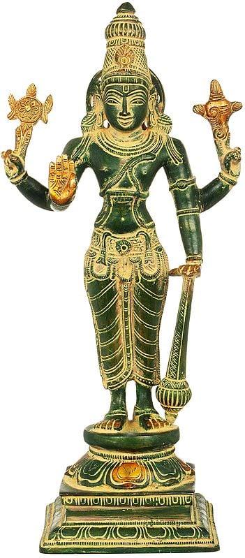 "12"" Lord Vishnu | Handmade | Brass Statue | Made In India"
