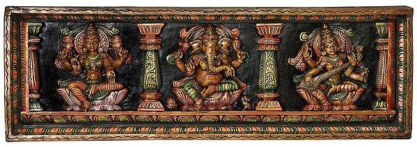 The Great Trinity Panel - Lakshmi, Ganesha and Saraswati