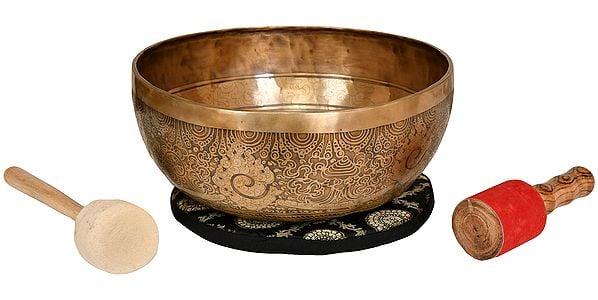 Tibetan Buddhist Singing Bowl with Image of Manjushri Inside