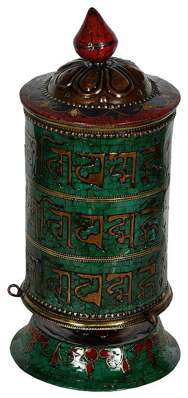 Made in Nepal Om Mani Padme Hum Prayer Wheel - Tibetan Buddhist