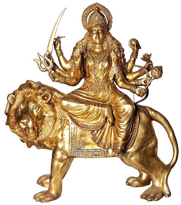 Large Size Ashtabhuja-dhari Durga on Her Mount Lion