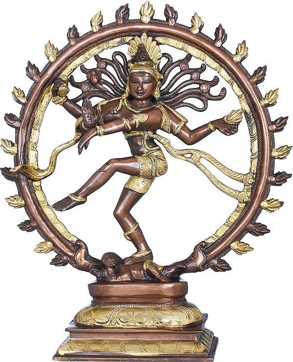"13"" Lord Shiva as Nataraja | Hindu god Shiva as the divine cosmic dancer | Brass Statue | Handmade | Made In India"
