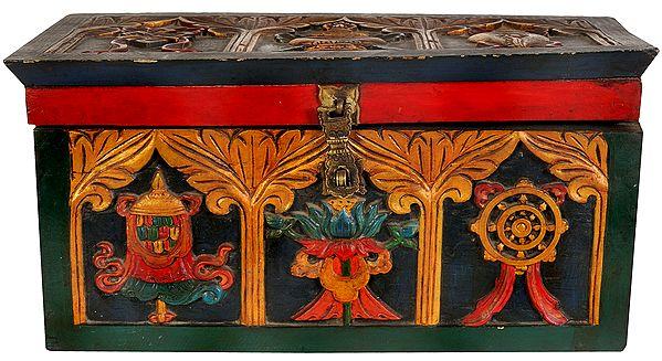Tibetan Buddhist Ritual Box with Auspicious Ashtamangala Symbols