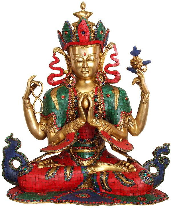 Large Size Chenrezig (Four Armed Avalokiteshvara Tibetan Buddhist Deity)