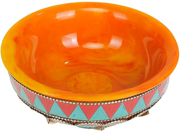 Tibetan Buddhist Amber Dust Ritual Bowl