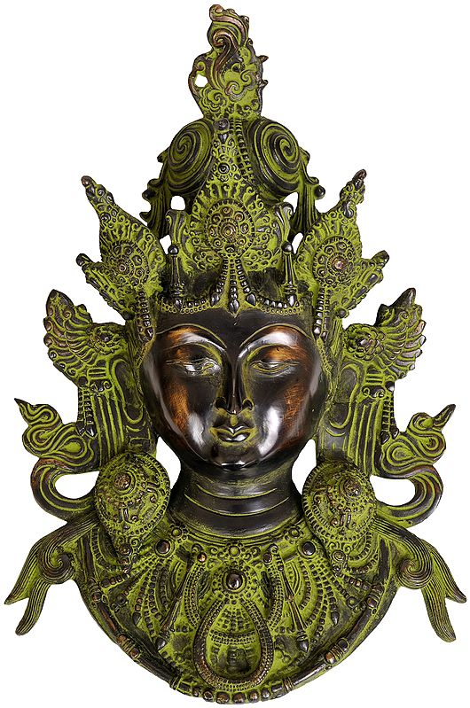 Superbly Detailed Green Tara Wall-Hanging Mask