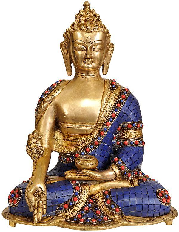 Tibetan Buddhist Lapis Buddha of Healing (Inlay Work)