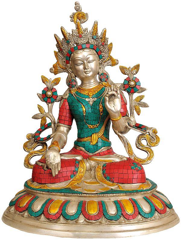 Inlay Statue of White Tara (Tibetan Buddhist Deity)