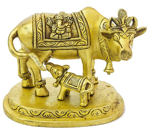 Cow and Calf: Saddle Decorated with Lakshmi-Ganesha figures