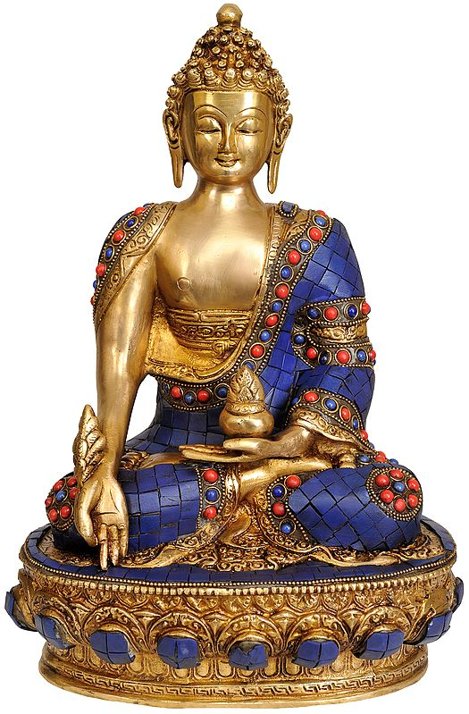 Lapis Healing Buddha (Tibetan Buddhist Deity)   with the Scenes of Life of Buddha on Reverse