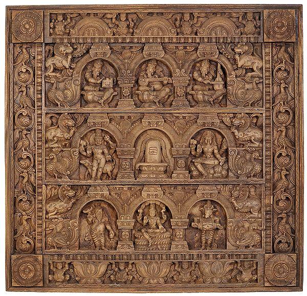 Musical Ganesha Panel with Bhairava, Shiva Linga, Dakshinamurti Shiva, Shiva Ganas and Pashupatinath Shiva